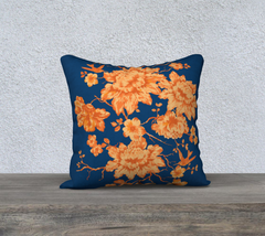 NEW Peonies and Birds Orange-blue