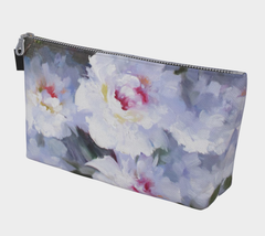 Painted White Peonies Make Up Bag