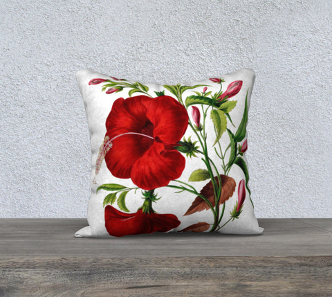 Vintage Botanical Hibiscus Pillow