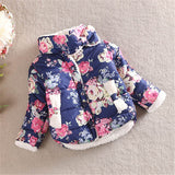 Winter Kid Baby Girl Floral Stand Collar Long Sleeve Bow Coat Outerwear