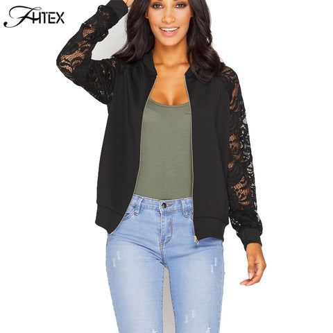 Lace Sleeve Women Basic Coats Long Sleeve Casual Slim Jacket