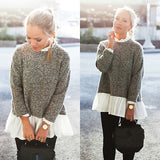 Long Sleeve Loose Knitwear Female Lace  Sweater Tops pullover