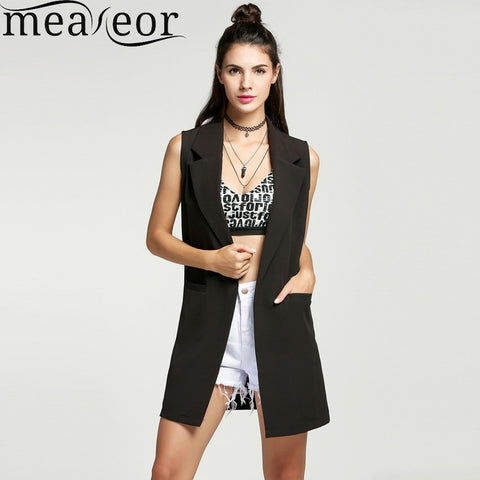 Women waistcoat Sleeveless Vest Long Jacket