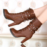 Ladies shoes Women boots High heels Lace up Leather boots Size 34-43