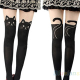 Women Cat Tail Gipsy Mock Knee High Hosiery Pantyhose