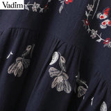 women vintage floral embroidery loose dress butterfly long sleeve