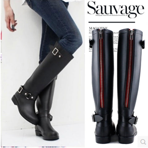 Women Rain Boots Punk Style High Pipe Riding Boots