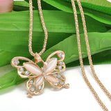 Rose Gold Acrylic Crystal 4CM Big Butterfly Pendant Necklace Jewelry For Women