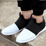 mens loafers black white color cloth shoes