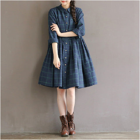 Casual Loose Waist Plaid Dress Cotton Plus Size S-2XL Women Clothing