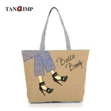 Women Canvas Handbags High-heeled Shopping Tote Para Mujer Shoulder Beach Bags