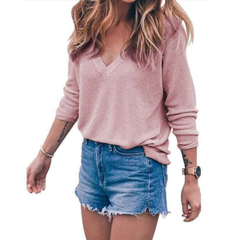 Women's Pullover Sweater Lady V-neck Long Sleeve