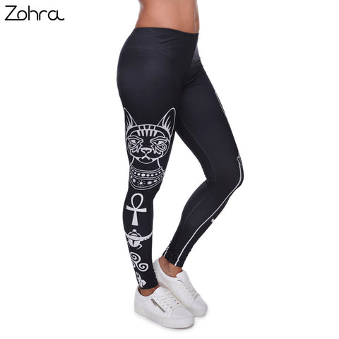 Egyptian cat symbols Printed Fashion Slim Leggings for Women