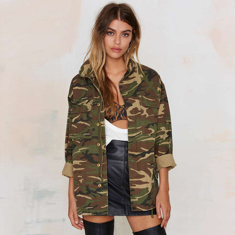Women Jacket Coat Vintage Camouflage Army Green Jackets