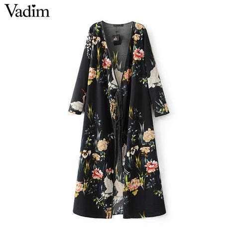 Women flower crane print maxi wrap dress long sleeve vintage bird pattern long loose dresses