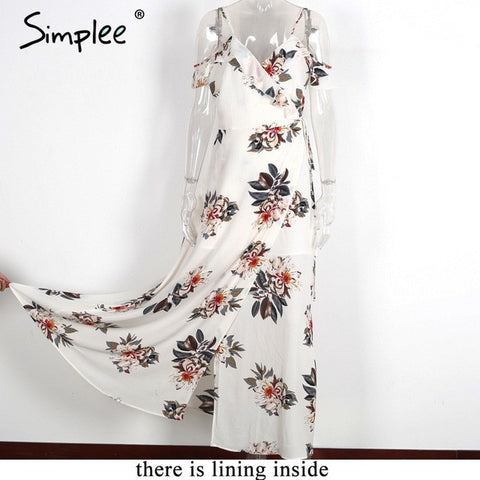 ruffles chiffon long dress Women strap v neck split beach summer dress
