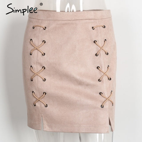 lace up leather suede pencil skirt short skirts womens