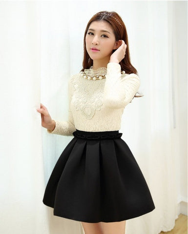 High waist skirt pleated skirts women
