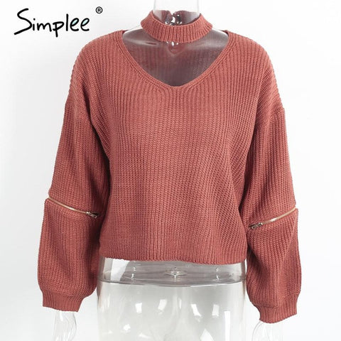 Simplee Winter halter knitted warm sweater women
