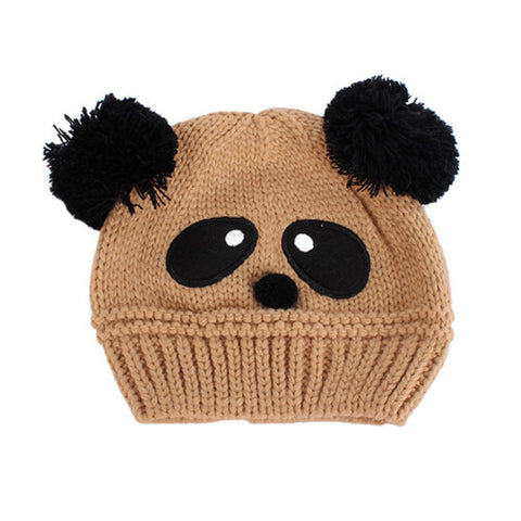 Baby Kids Cartoon Panda Ball Knited Winter Hat