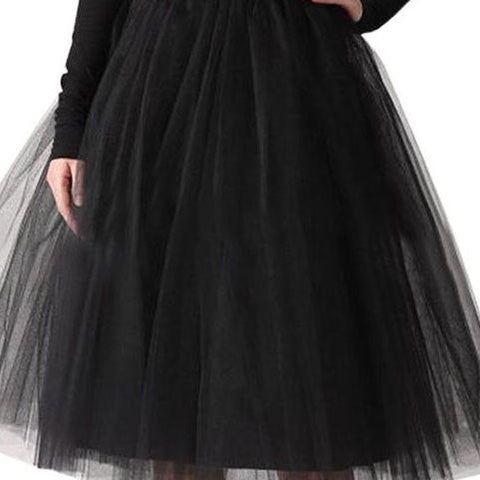 Puffy 7 Layers Tulle Skirt Hidden Zipper Summer Style High Waisted Maxi Skirts Womens