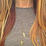 New Vintage New Leaf Gold Color Sweater Chain Necklace