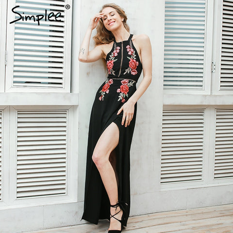 backless dress Women summerevening long dress Party elegant black vintage dress
