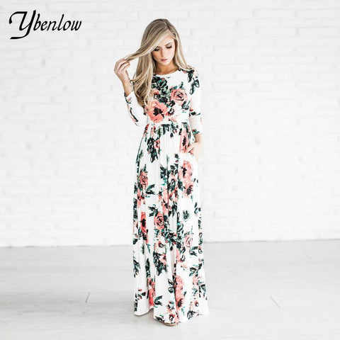 women dresses spring fashion printed flower Floor-length summer dress