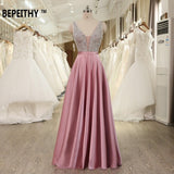 Charming V-Neck  Open Back A Line Long Evening Dress