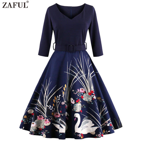 ZAFUL Elegant Black Swan  Vintage Dress V Neck 3/4 Sleeved High Waist Belts