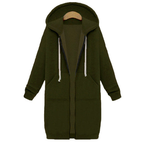 Women Casual Long Hoodies Sweatshirt Coat PHooded Jacket Plus Size