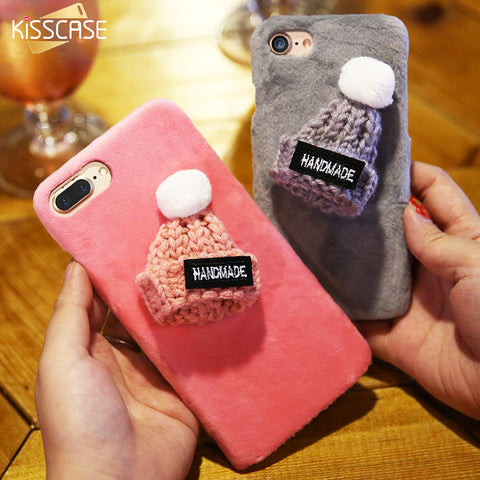Plush Hat Cover For iPhone 6s 6 7 Case