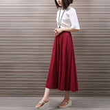 Summer Vintage Cotton and Linen Midi Skirts Women