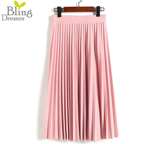 Women's High Waist Pleated Solid Color Half Length Elastic Skirt