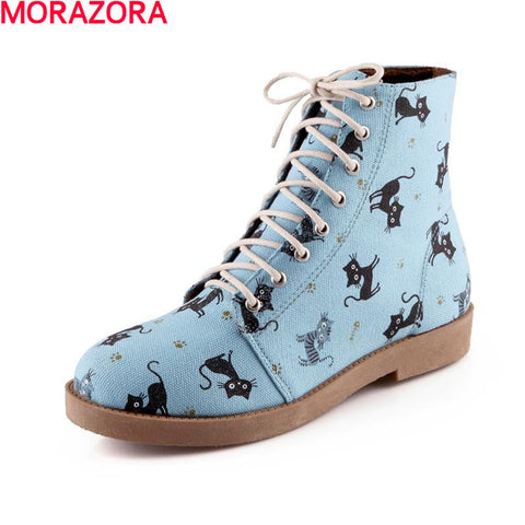 cartoon animation new arrive cat lace up autumn winter women boots
