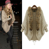 Women Winter Cardigan Thick Poncho Capes Pull Wool Sweater Jacket