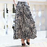 summer runway casual  high waist loose floral Wide leg skirt