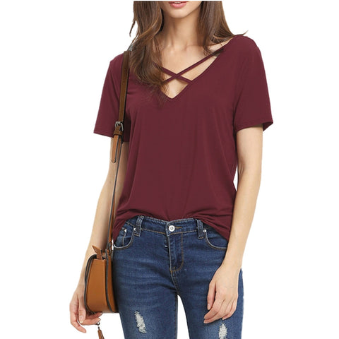 New Arrive Summer T Shirt Women  Short Sleeve V Neck Women T Shirt