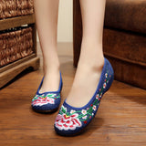 Vintage Women Flats Old Peking Shoes Chinese Flower