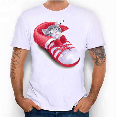 Msguide New T-Shirt Men's Tee Cute Cat