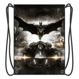 Bat Man Drawstring Backpack Boy School Bags Movies Fans Shoes Bag With 2 String