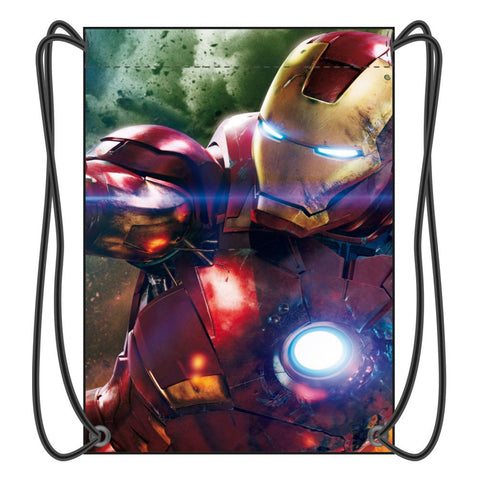 Super Hero Iron Man Drawstring Backpack Boy School Bags