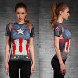 WOMEN T-SHIRT CAPTAIN AMERICA /SUPERMAN T SHIRT