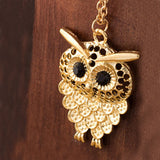 Vintage Women Owl Pendant Long Sweater Chain Necklace