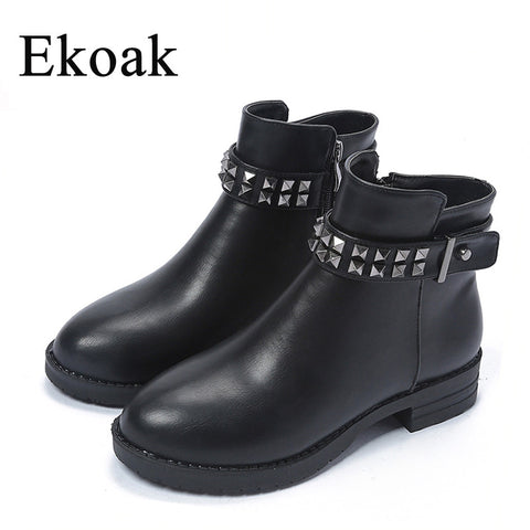 Women  Boots Classic Zip Rivets Ankle Boots