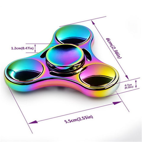 Rainbow Fidget Spinner Metal Material Hand Finger Spinner High Speed Bearing Anxiety Stress Autism Relief Focus Adults Kid Toys