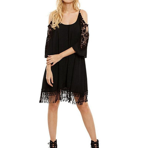 2017 Beach Summer Dress Women's Cold Shoulder Crochet Hollow Out Lace Three Quarter Sleeve Loose Black White Tassel Dress