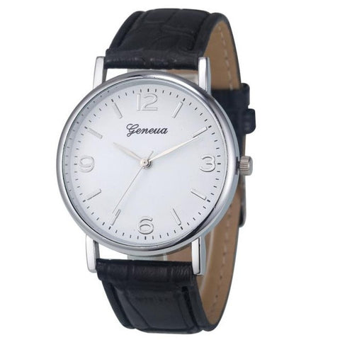 GENVIVIA Fashion Leather Analog Quartz Unisex WristWatch