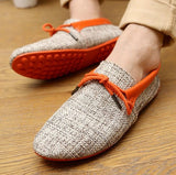 Woven men casual flat shoes lace-up loafers comfortable mocassins