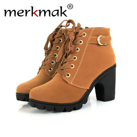 Merkmak Brand Heels Women Boots Soft Leather Platform Comfortable Single Shoes